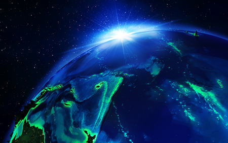 land area in pacific ocean the night photo