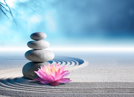 armonía: lirio y spa piedras de arena en el jardín zen