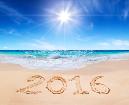beach sun: written 2016 on the beach Stock Photo