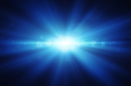 background shining and sparkling of blue rays Stock Photo