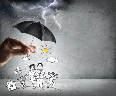 weather protection: life and family insurance - safety concept