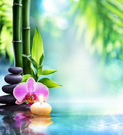 zen rocks: spa still life - candle and stone with bamboo in nature on water