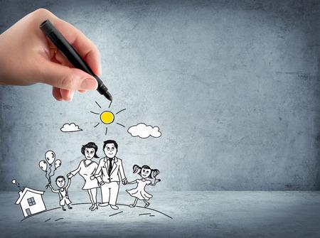 コンセプト: 家族サポート - 保険の概念 写真素材