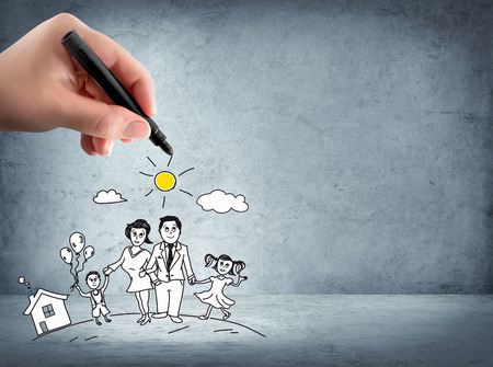 koncepció: családsegítő - biztosítási koncepció Stock fotó