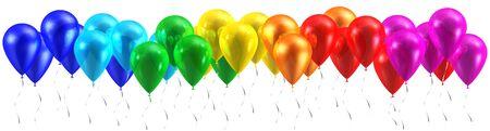 balloons: Rainbow balloons isolated on white Stock Photo