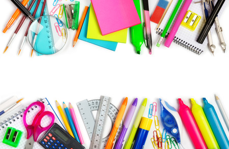 art materials: School supplies double border on white background Stock Photo
