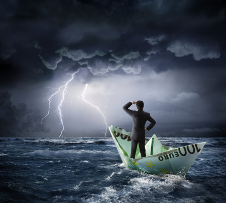 Euro boat in the crisis - investment risk concept Stock Photo - 43693594
