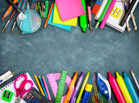 School supplies double border on blackboard