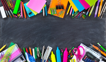 School and office supplies double border on blackboard 写真素材