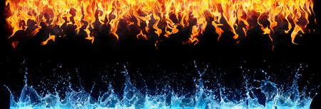 Feuer und Wasser auf schwarz - gegenüber Energie Standard-Bild