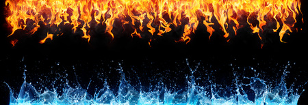 black water: fire and water on black - opposite energy Stock Photo