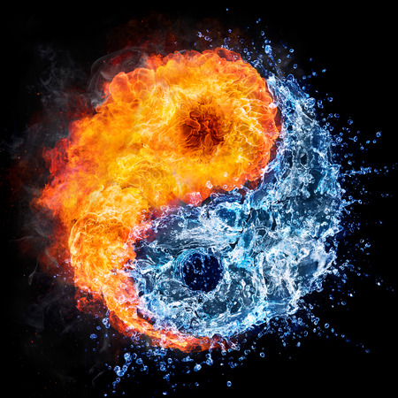 fire and water: fire and water - yin yang concept - tao symbol