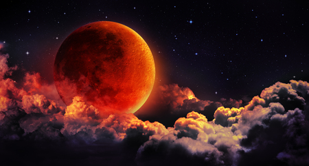 full: moon eclipse - planet red blood with clouds