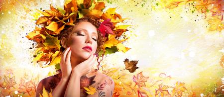 Art Fashion in autunno - Trucco artistico con acconciatura Natura Archivio Fotografico - 45711859