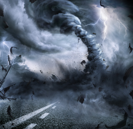 lightning storm: Powerful Tornado - Dramatic Destruction On The Road