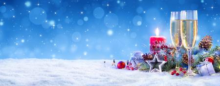 velas de navidad: Champán para la celebración de la Navidad - Flautas Con Vela Decoración