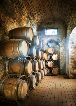 Cellar With Barrels For Storage Of Wine Stok Fotoğraf - 46577358