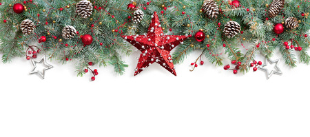 star border: Christmas Fir Tree Decorated On White