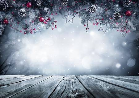 Winter Background Avec Branch Fir Givre Sur Table Vintage