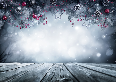 shiny background: Winter Background With Frost Fir Branch On Vintage Table