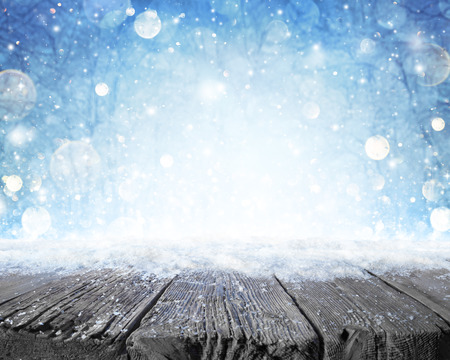 forest background: Snowy Plank With Wintery Forest Background