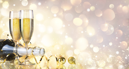 champagne bottle: Toast With Bottle And Champagne - Golden Background