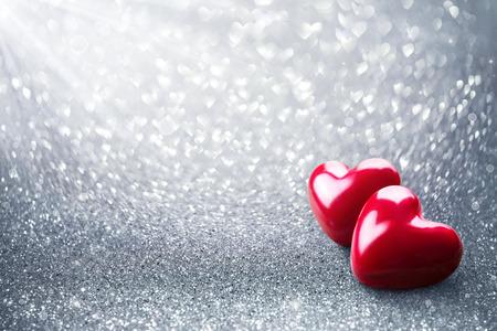 Zwei Herd On Silver Glitter - Valentine-Karte