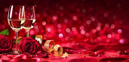 Romantic Celebration Of Valentine's Day - With Wine And Roses Archivio Fotografico