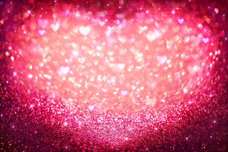 hearts background: Valentines Day holiday background. Vintage Hearts defocused Stock Photo