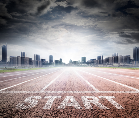 Business Start - Race Track naar succes Stockfoto