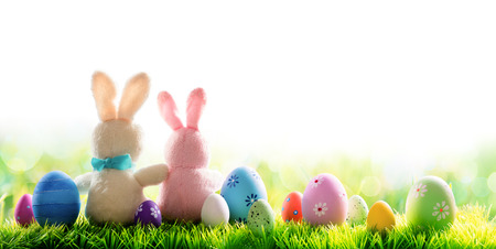 Two Bunnies With Decorated Eggs Isolated On Sunny Meadow