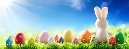 easter decorations: Bunny With Decorated Eggs On Sunny Meadow - Spring And Easter Background Stock Photo