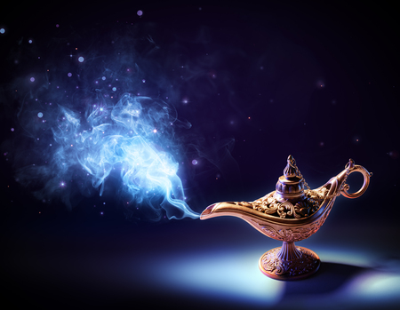 genie lamp: Lamp Of Wishes - Magic Smoke Coming Out Of The Bottle Stock Photo