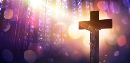 catholic symbols: Crucified Christ - Symbol Of Faith Catholic Stock Photo
