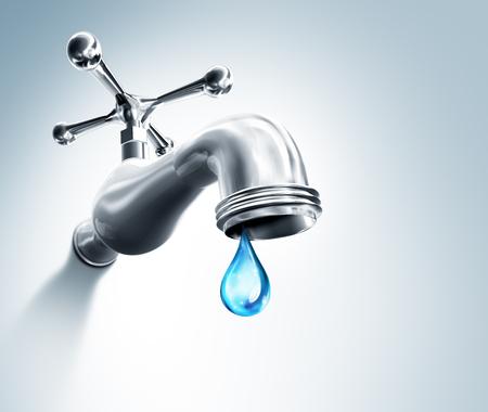 Lekkende kraan een druppel Water Stockfoto