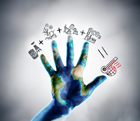 DETENGA el cambio climático - Tema del Día de la Tierra - Iconos dibujados que ilustran el concepto de calentamiento global Foto de archivo