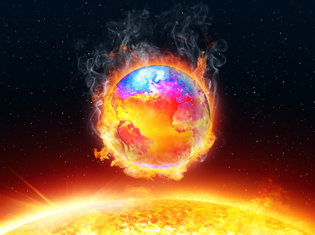 rising temperature: Global Warming - Land and Ocean Temperature - Illustration In Spectrum Color Table Blue-Red-Yellow