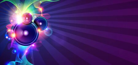 discotheque: Disco Music Background With Sound Waves And Speakers