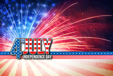 4th Of July - Independence Day Retro Card With American Fireworks Stok Fotoğraf