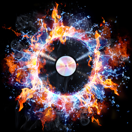 Vinyl Record With Fire And Water - Creative Rock And Roll