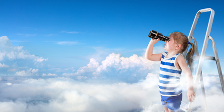 new horizons: To Discover New Horizons - Little Girl With Binoculars On The Ladder Above The Clouds