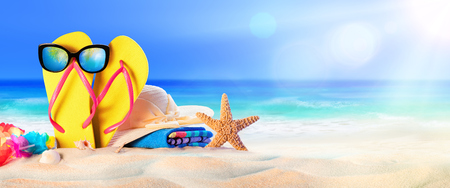 vacation summer: Beach Accessories On Seashore - Summer Holidays Stock Photo