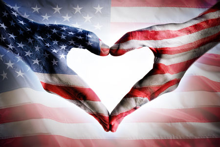 shaped hands: Love And Patriotism - USA Flag On Heart Shaped Hands