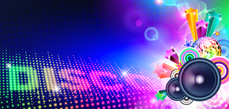 entertainment event: Disco Music Flyer With Lights And Speakers Stock Photo