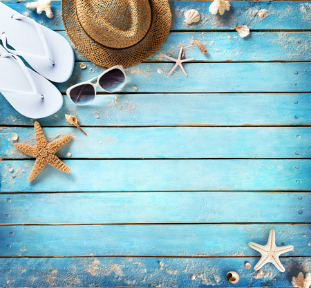 Beach Accessories On Vintage Blue Plank Stock Photo