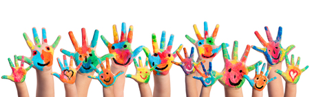 Hands Painted With Smileys Banco de Imagens - 60068285