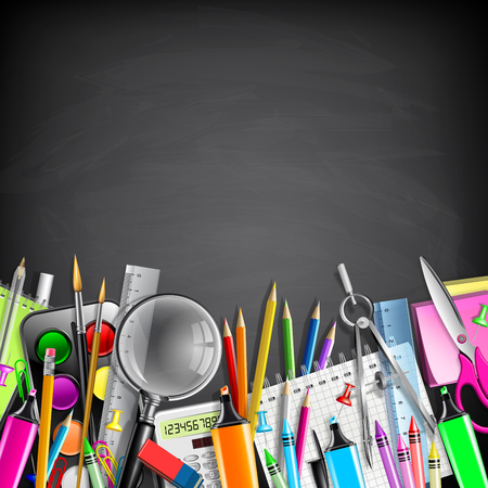 office tool: School Stationery Border On Blackboard Illustration