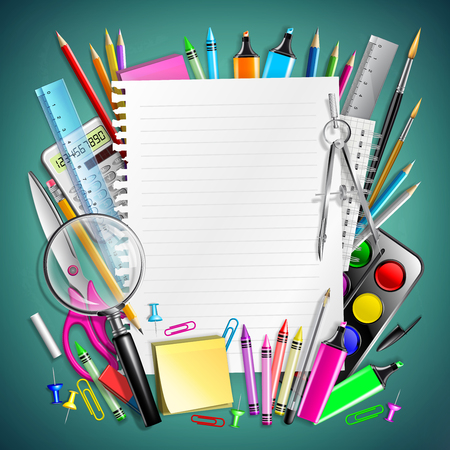 Notepad Sheet And Frame With School Supplies  イラスト・ベクター素材