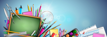 Banner Back To School With Blackboard And Supplies  イラスト・ベクター素材