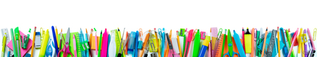 office supplies: Banner School Supplies Isolated On White